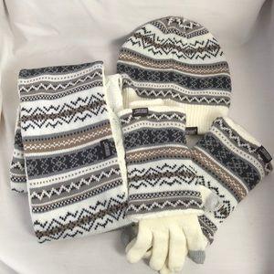 Muk Luks Hat Scarf and Gloves Set